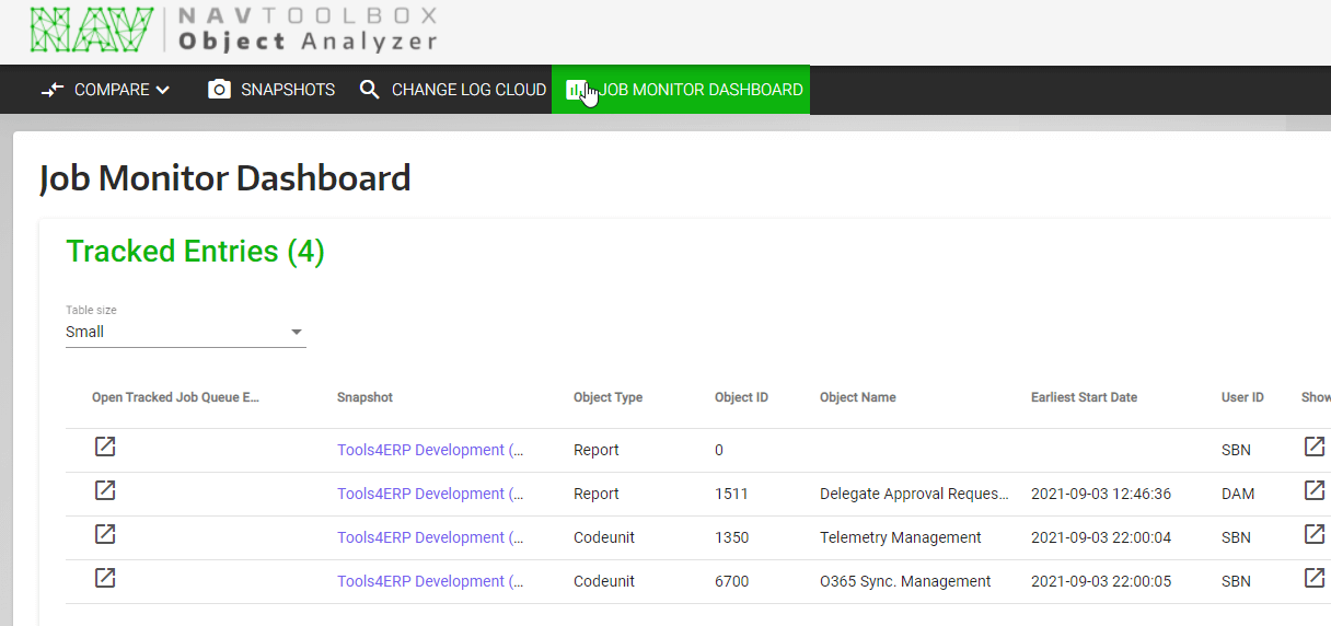 Job Monitor dashboard with new entries
